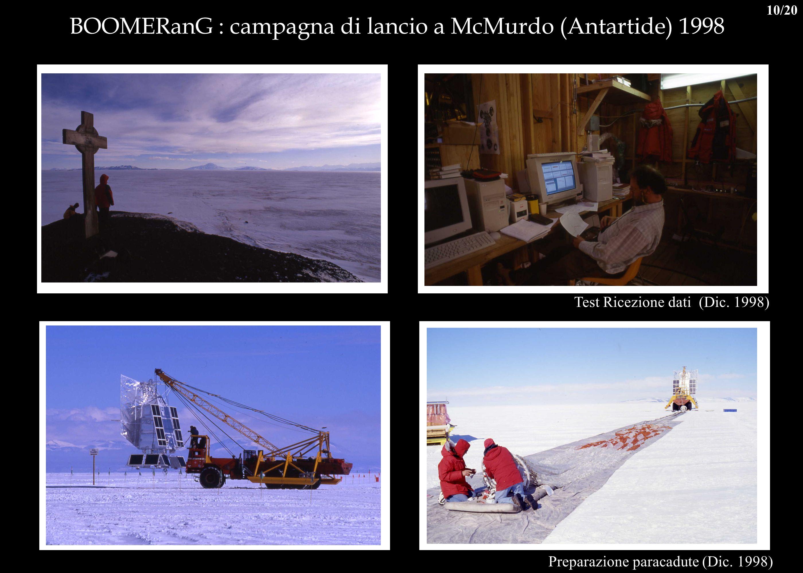 BOOMERanG : campagna di lancio a McMurdo (Antartide) 1998 Test Ricezione dati (Dic. 1998) Preparazione paracadute (Dic. 1998) 10/20