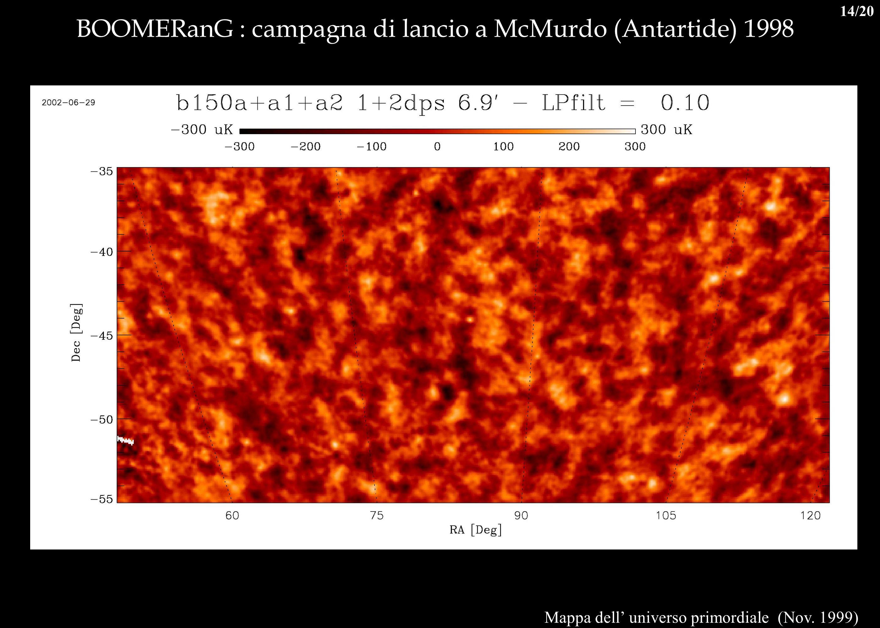 BOOMERanG : campagna di lancio a McMurdo (Antartide) 1998 Mappa dell universo primordiale (Nov. 1999) 14/20