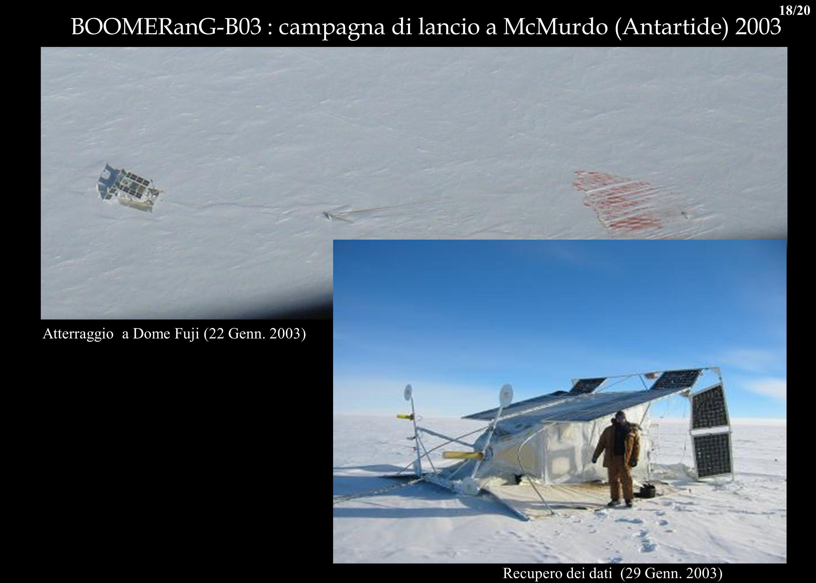 Recupero dei dati (29 Genn. 2003) BOOMERanG-B03 : campagna di lancio a McMurdo (Antartide) 2003 Atterraggio a Dome Fuji (22 Genn. 2003) 18/20