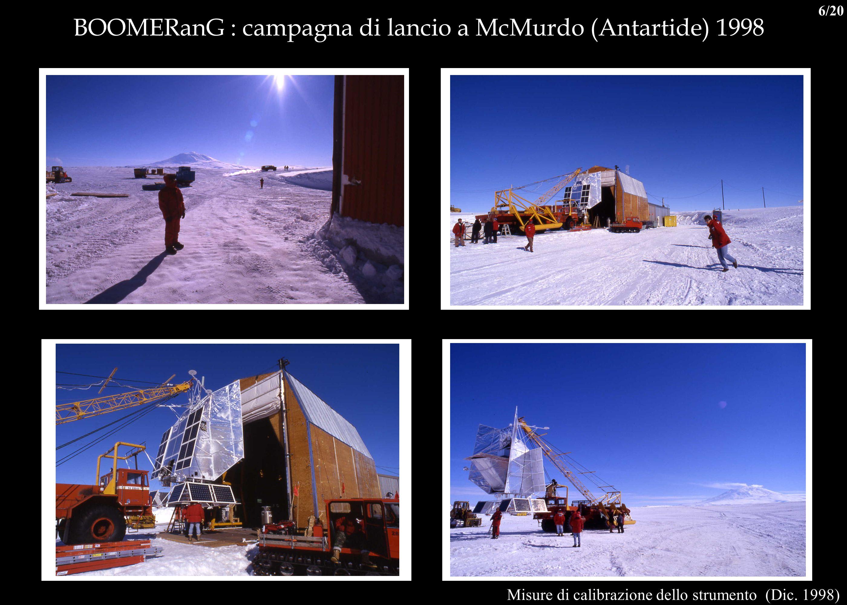 BOOMERanG : campagna di lancio a McMurdo (Antartide) 1998 Misure di calibrazione dello strumento (Dic. 1998) 6/20