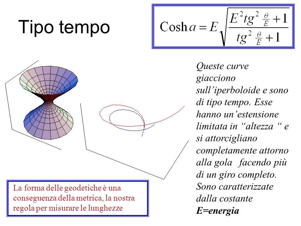 Tipo spazio Queste curve giacciono sulliperboloide e sono di tipo spazio. Esse si estendono dallinfinità negativa nella falda inferiore allinfinità po