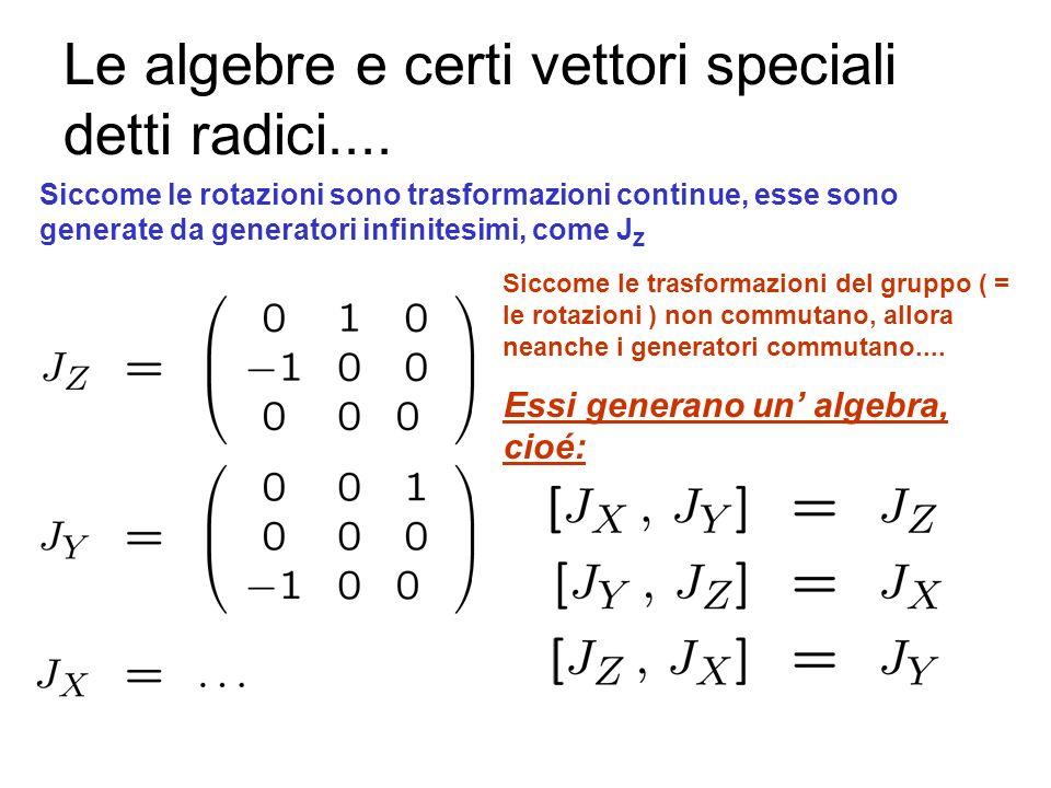Le matrici di rotazione ed i generatori Un vettore é identificato dalle sue componenti lungo gli assi X, Y, Z Applichiamo una rotazione La rotazione è