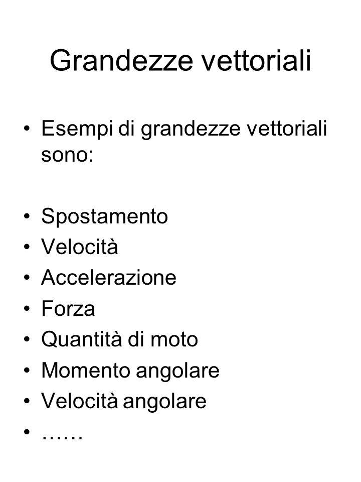Grandezze vettoriali Esempi di grandezze vettoriali sono: Spostamento Velocità Accelerazione Forza Quantità di moto Momento angolare Velocità angolare