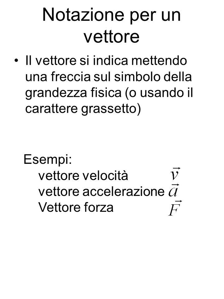 Notazione per un vettore Il vettore si indica mettendo una freccia sul simbolo della grandezza fisica (o usando il carattere grassetto) Esempi: vettor