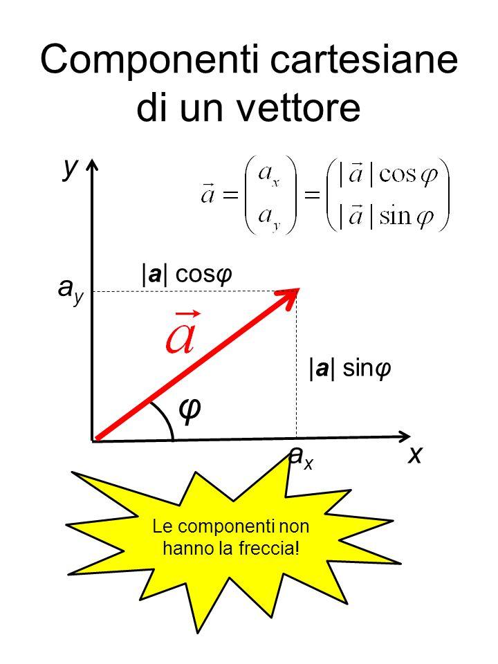 Componenti cartesiane di un vettore Le componenti non hanno la freccia! axax ayay x y φ |a| sinφ |a| cosφ
