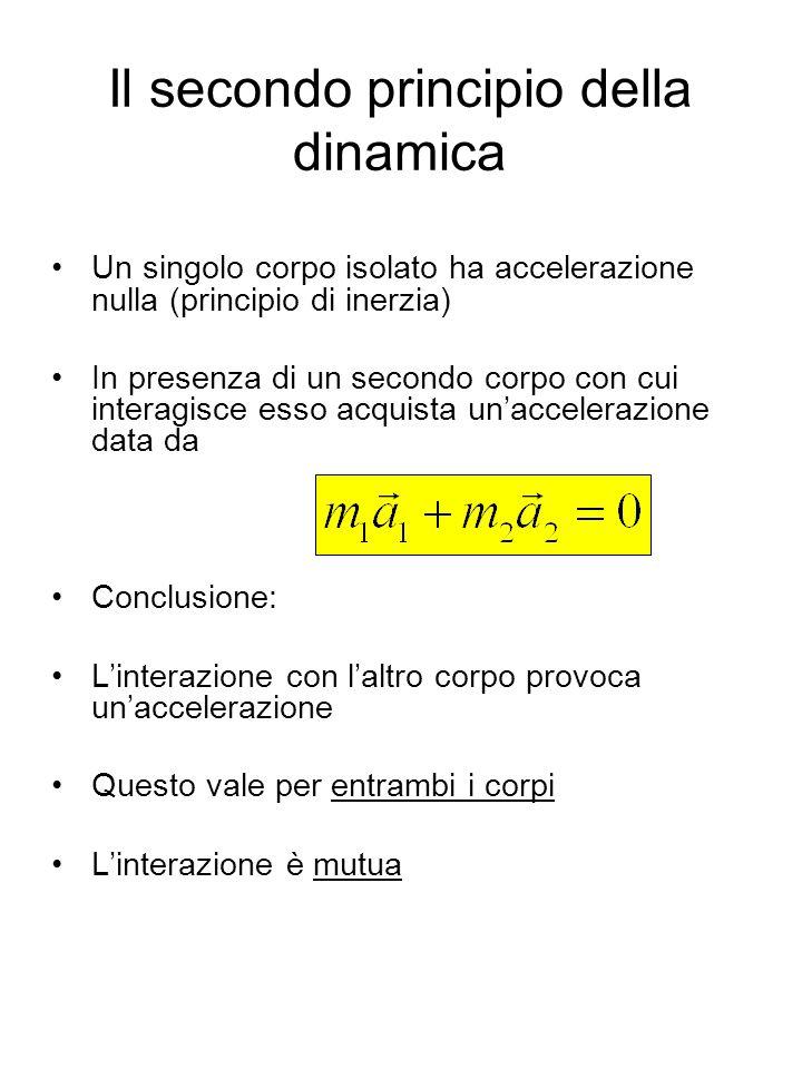Il secondo principio della dinamica Un singolo corpo isolato ha accelerazione nulla (principio di inerzia) In presenza di un secondo corpo con cui int