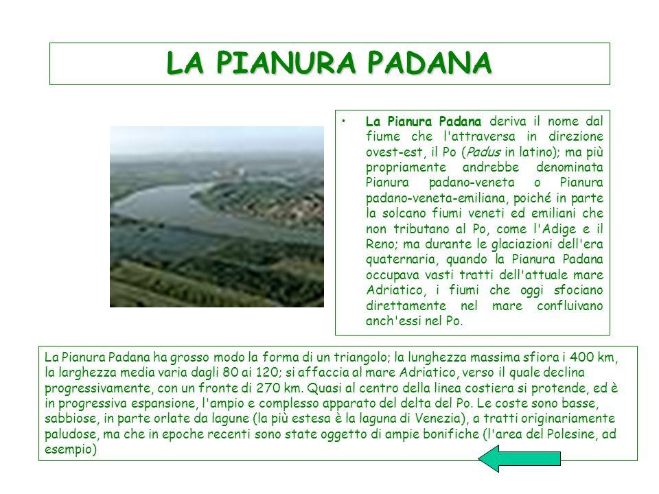 LA PIANURA PADANA La Pianura Padana deriva il nome dal fiume che l'attraversa in direzione ovest-est, il Po (Padus in latino); ma più propriamente and