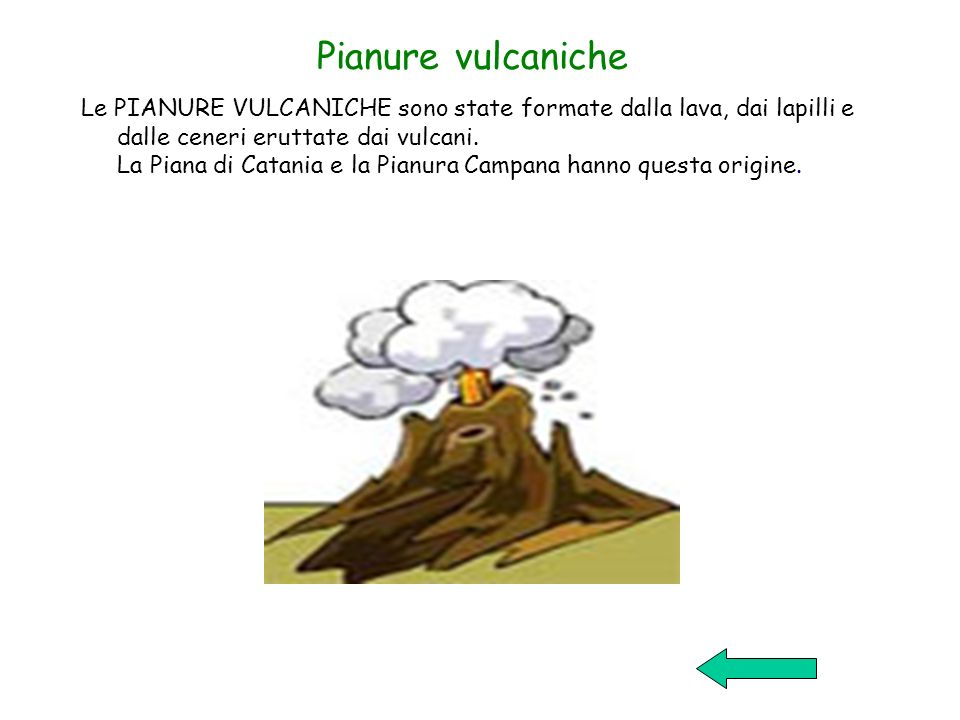 Pianure vulcaniche Le PIANURE VULCANICHE sono state formate dalla lava, dai lapilli e dalle ceneri eruttate dai vulcani. La Piana di Catania e la Pian
