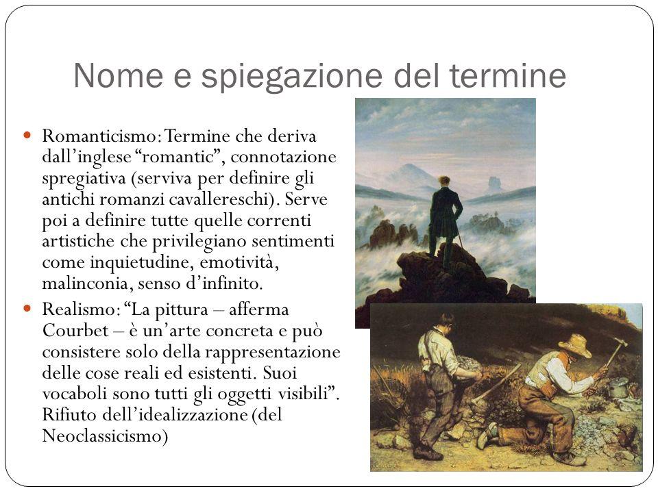 Nome e spiegazione del termine Romanticismo: Termine che deriva dallinglese romantic, connotazione spregiativa (serviva per definire gli antichi roman