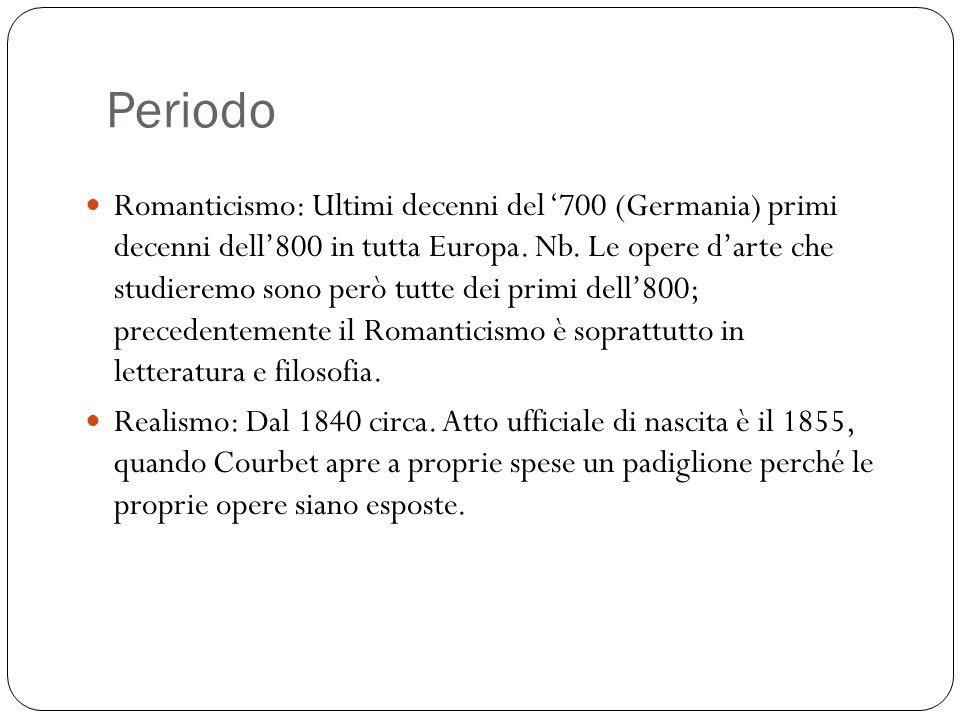 Periodo Romanticismo: Ultimi decenni del 700 (Germania) primi decenni dell800 in tutta Europa. Nb. Le opere darte che studieremo sono però tutte dei p