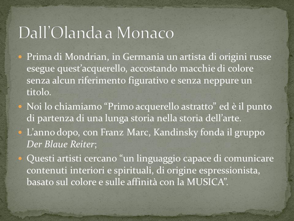 Prima di Mondrian, in Germania un artista di origini russe esegue questacquerello, accostando macchie di colore senza alcun riferimento figurativo e s