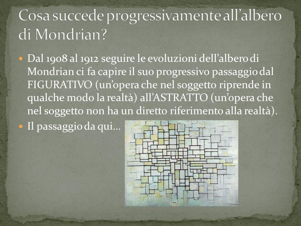 Dal 1908 al 1912 seguire le evoluzioni dellalbero di Mondrian ci fa capire il suo progressivo passaggio dal FIGURATIVO (unopera che nel soggetto ripre