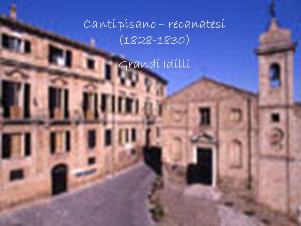 Canti pisano-recanatesi (Grandi Idilli) Canti pisano – recanatesi (1828-1830) Grandi Idilli