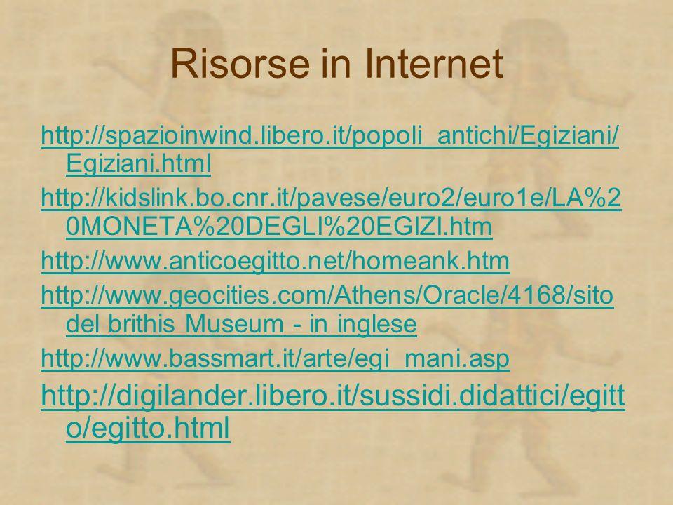 Risorse in Internet http://spazioinwind.libero.it/popoli_antichi/Egiziani/ Egiziani.html http://kidslink.bo.cnr.it/pavese/euro2/euro1e/LA%2 0MONETA%20