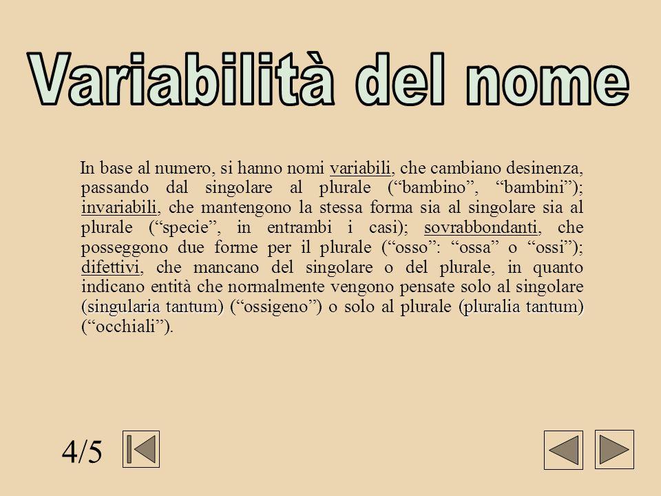 (singularia tantum)(pluralia tantum) In base al numero, si hanno nomi variabili, che cambiano desinenza, passando dal singolare al plurale (bambino, b