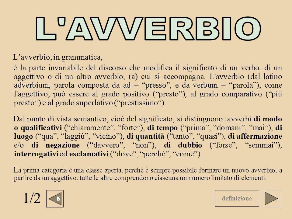 Lavverbio, in grammatica, adverbiumadverbum è la parte invariabile del discorso che modifica il significato di un verbo, di un aggettivo o di un altro