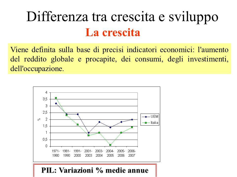 Differenza tra crescita e sviluppo Viene definita sulla base di precisi indicatori economici: l'aumento del reddito globale e procapite, dei consumi,