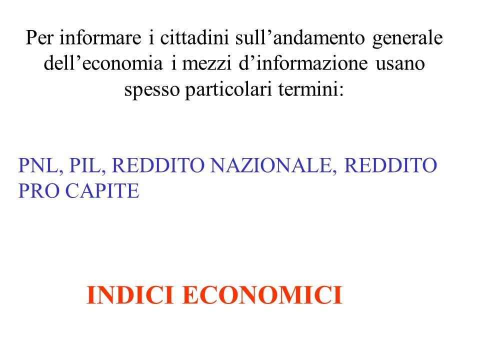 Per informare i cittadini sullandamento generale delleconomia i mezzi dinformazione usano spesso particolari termini: PNL, PIL, REDDITO NAZIONALE, RED
