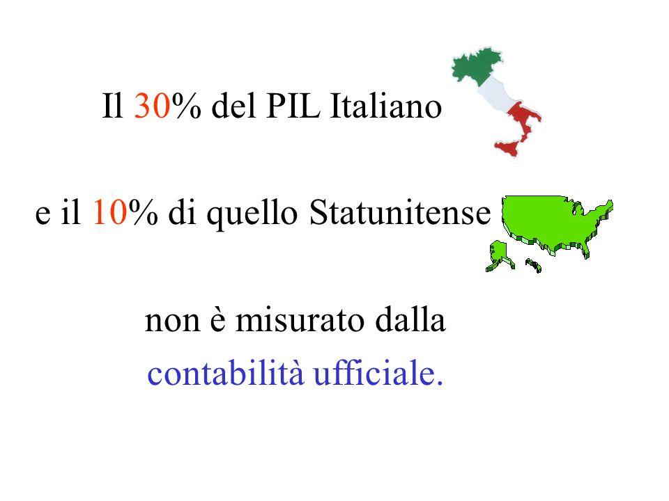 Il 30% del PIL Italiano e il 10% di quello Statunitense non è misurato dalla contabilità ufficiale.
