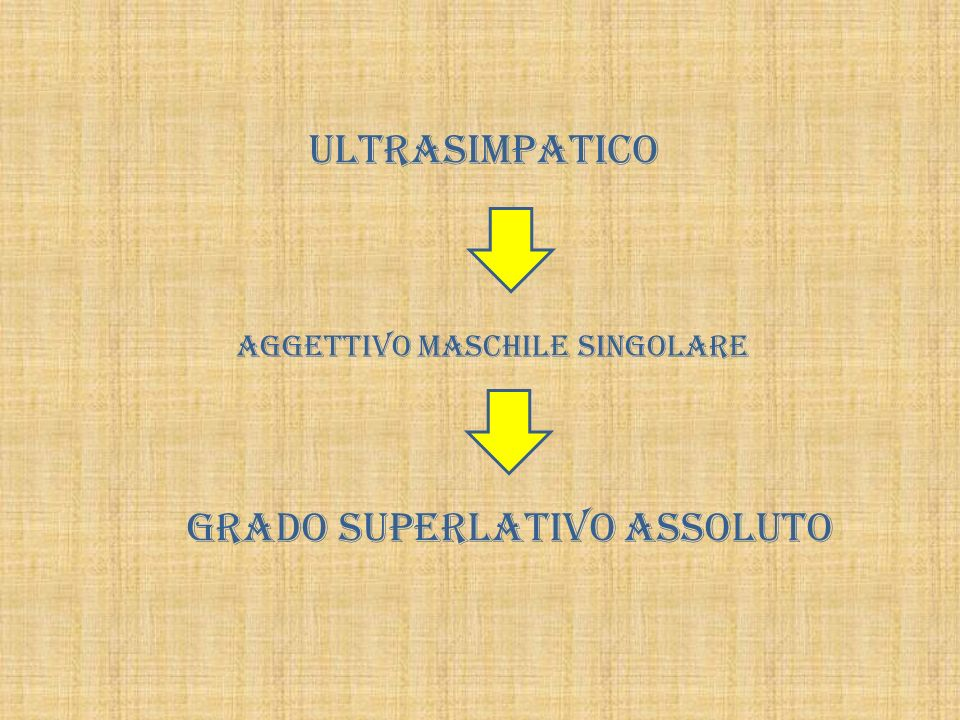 ULTRASIMPATICO AGGETTIVO MASCHILE SINGOLARE GRADO SUPERLATIVO ASSOLUTO