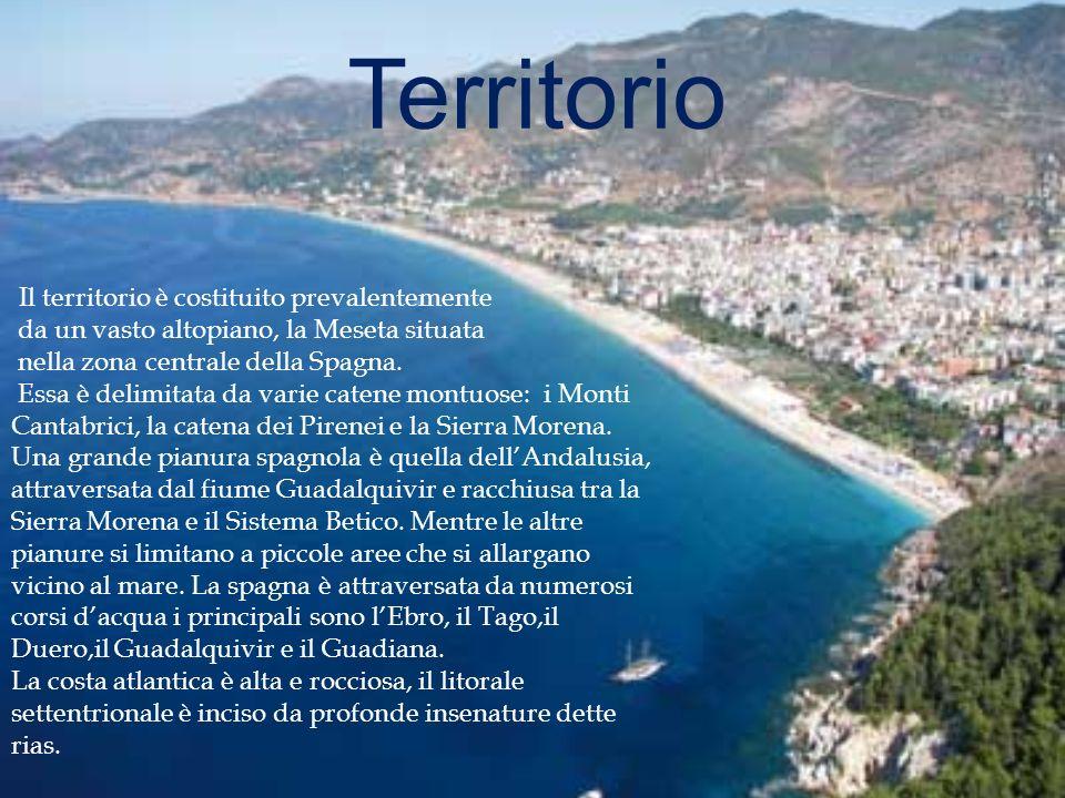 Territorio Il territorio è costituito prevalentemente da un vasto altopiano, la Meseta situata nella zona centrale della Spagna.