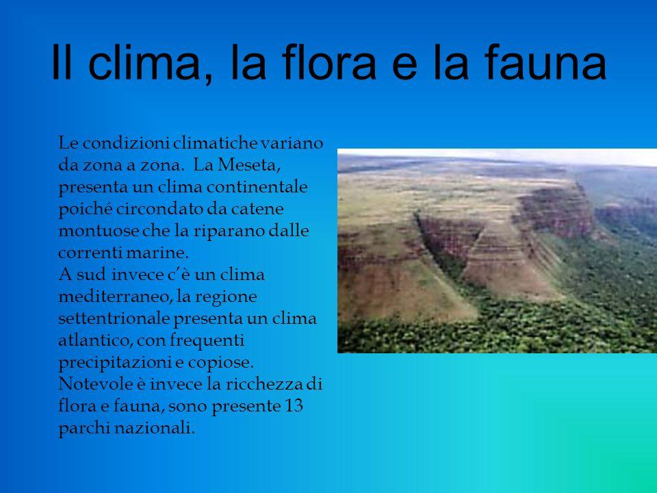 Il clima, la flora e la fauna Le condizioni climatiche variano da zona a zona.