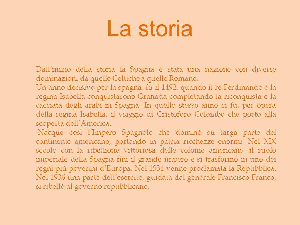 La storia Dallinizio della storia la Spagna è stata una nazione con diverse dominazioni da quelle Celtiche a quelle Romane.