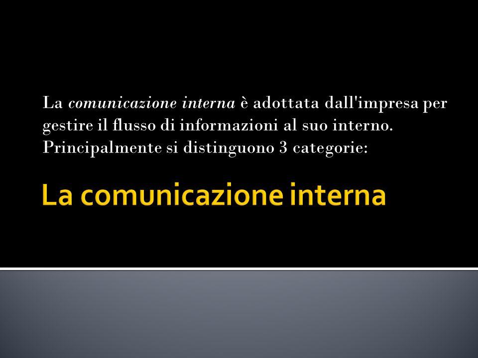 La comunicazione interna è adottata dall impresa per gestire il flusso di informazioni al suo interno.
