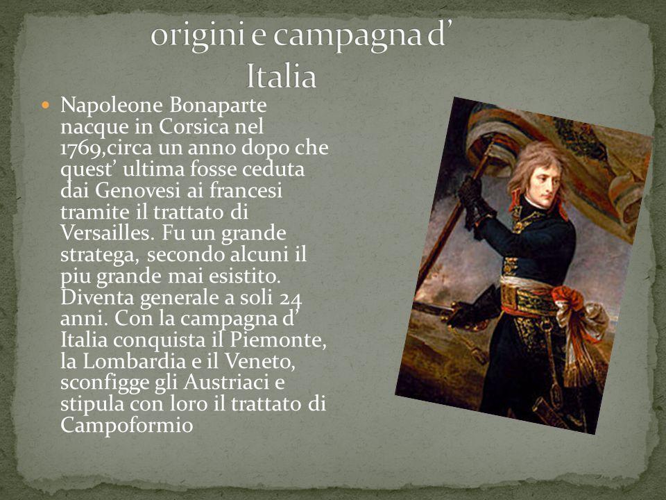 Napoleone Bonaparte nacque in Corsica nel 1769,circa un anno dopo che quest ultima fosse ceduta dai Genovesi ai francesi tramite il trattato di Versailles.