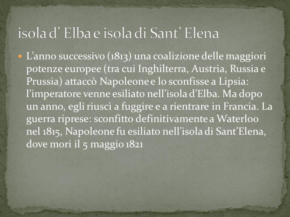 Lanno successivo (1813) una coalizione delle maggiori potenze europee (tra cui Inghilterra, Austria, Russia e Prussia) attaccò Napoleone e lo sconfiss