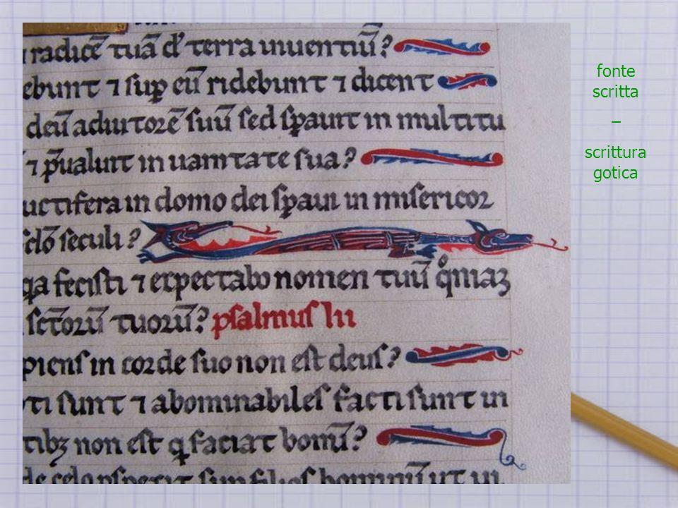 fonte scritta – scrittura gotica