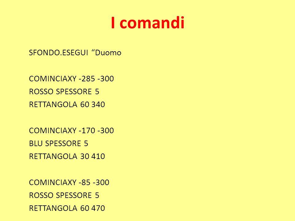 I comandi SFONDO.ESEGUI Duomo COMINCIAXY -285 -300 ROSSO SPESSORE 5 RETTANGOLA 60 340 COMINCIAXY -170 -300 BLU SPESSORE 5 RETTANGOLA 30 410 COMINCIAXY -85 -300 ROSSO SPESSORE 5 RETTANGOLA 60 470