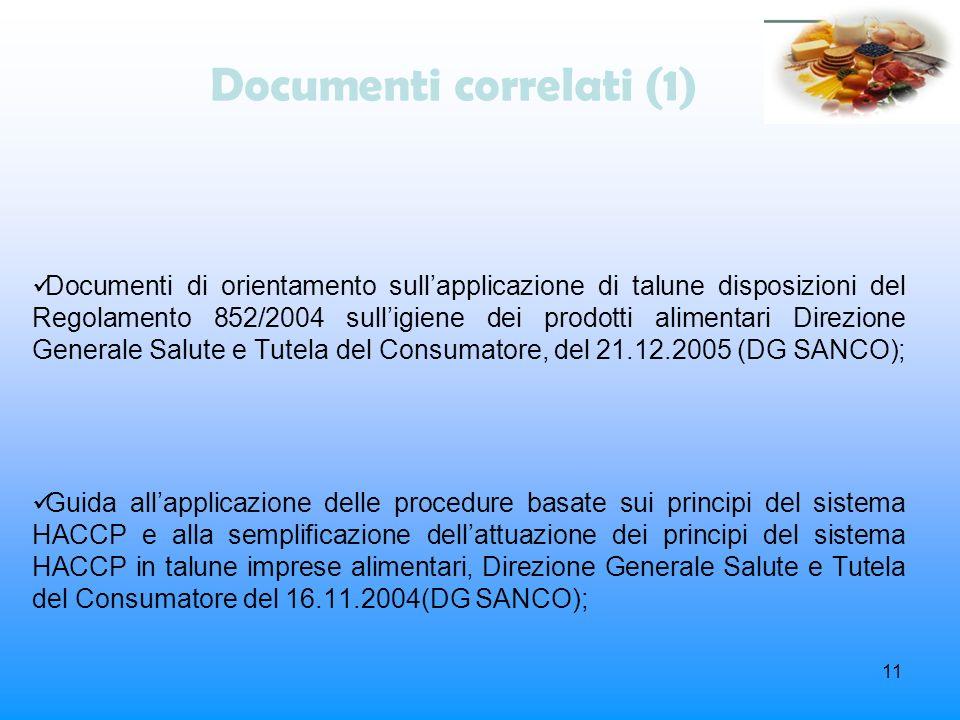 11 Documenti correlati (1) Documenti di orientamento sullapplicazione di talune disposizioni del Regolamento 852/2004 sulligiene dei prodotti alimenta