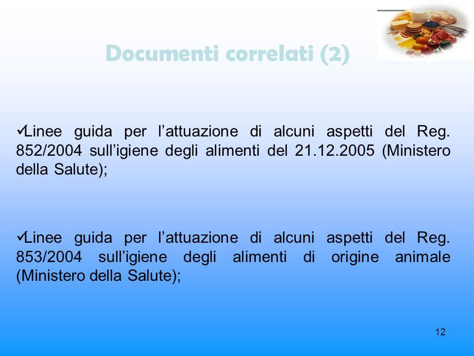 12 Documenti correlati (2) Linee guida per lattuazione di alcuni aspetti del Reg. 852/2004 sulligiene degli alimenti del 21.12.2005 (Ministero della S