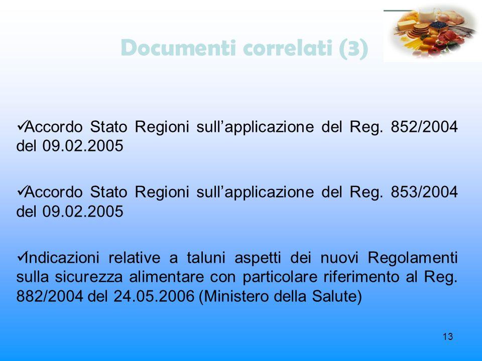 13 Documenti correlati (3) Accordo Stato Regioni sullapplicazione del Reg. 852/2004 del 09.02.2005 Accordo Stato Regioni sullapplicazione del Reg. 853