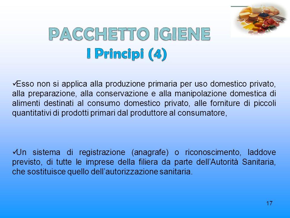 17 Esso non si applica alla produzione primaria per uso domestico privato, alla preparazione, alla conservazione e alla manipolazione domestica di ali