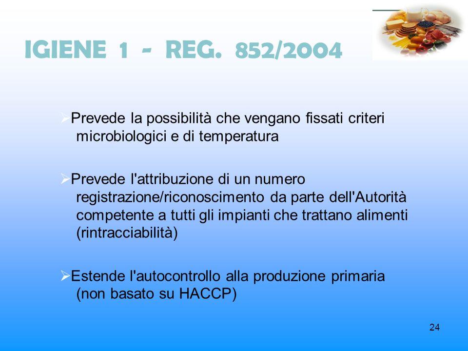 24 IGIENE 1 - REG. 852/2004 Prevede la possibilità che vengano fissati criteri microbiologici e di temperatura Prevede l'attribuzione di un numero reg