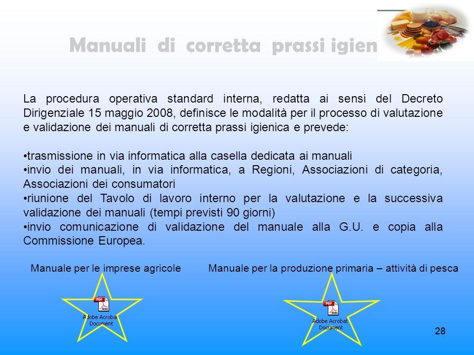 28 La procedura operativa standard interna, redatta ai sensi del Decreto Dirigenziale 15 maggio 2008, definisce le modalità per il processo di valutaz