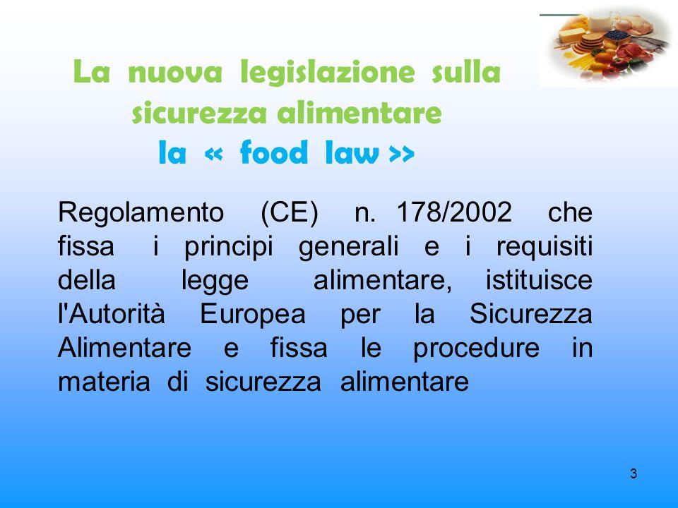 3 La nuova legislazione sulla sicurezza alimentare la « food law >> Regolamento (CE) n. 178/2002 che fissa i principi generali e i requisiti della leg