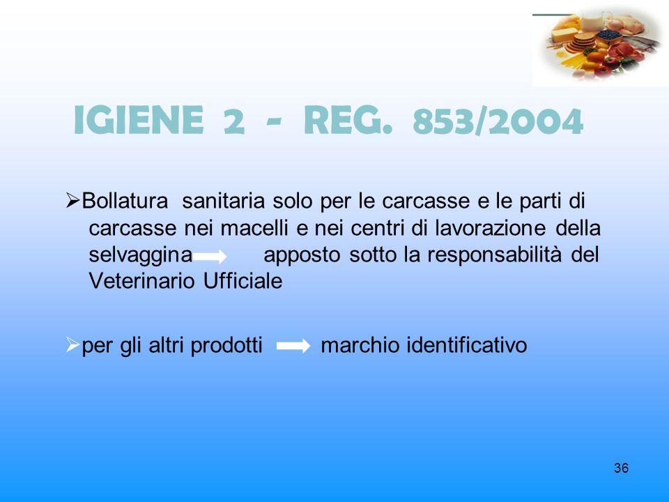 36 IGIENE 2 - REG. 853/2004 Bollatura sanitaria solo per le carcasse e le parti di carcasse nei macelli e nei centri di lavorazione della selvaggina a