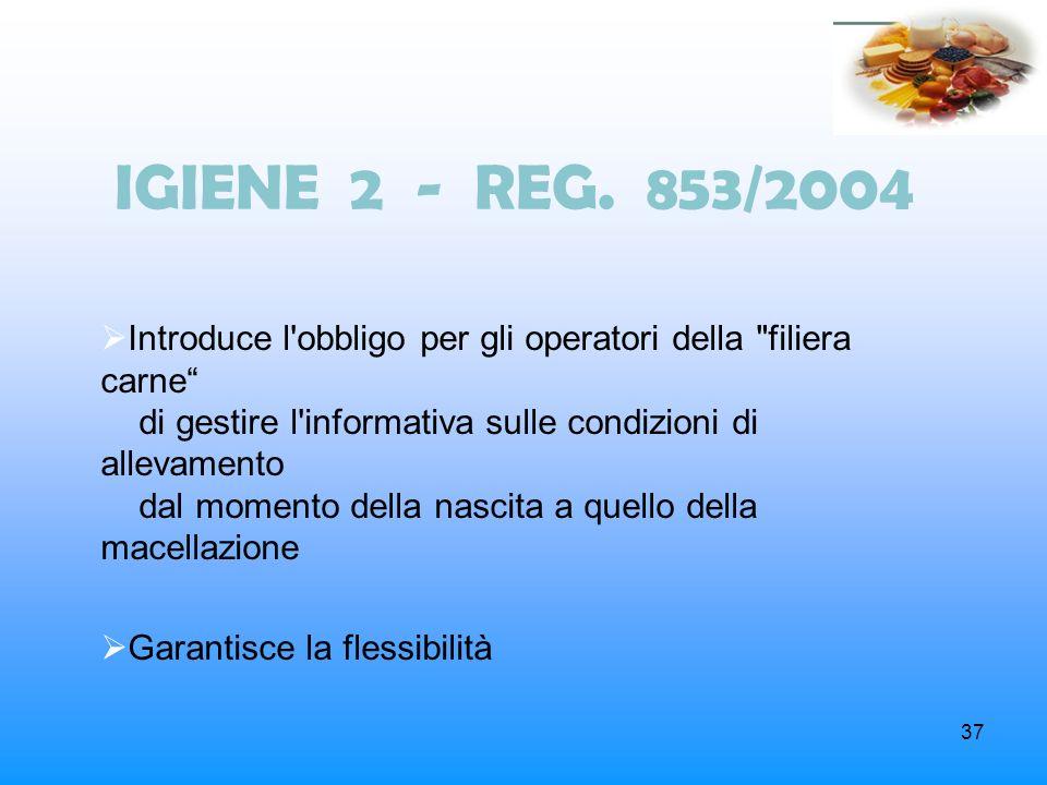 37 IGIENE 2 - REG. 853/2004 Introduce l'obbligo per gli operatori della