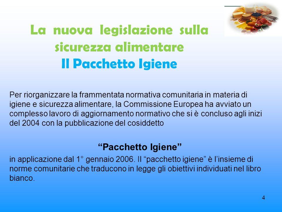 4 La nuova legislazione sulla sicurezza alimentare Il Pacchetto Igiene Per riorganizzare la frammentata normativa comunitaria in materia di igiene e s