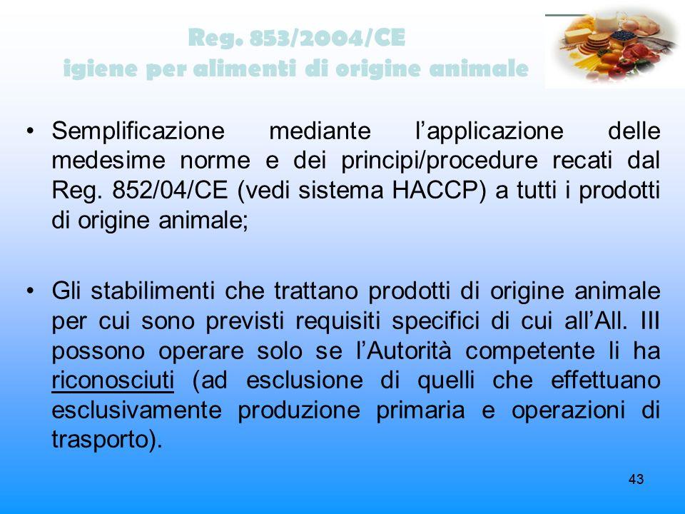 43 Reg. 853/2004/CE igiene per alimenti di origine animale Semplificazione mediante lapplicazione delle medesime norme e dei principi/procedure recati