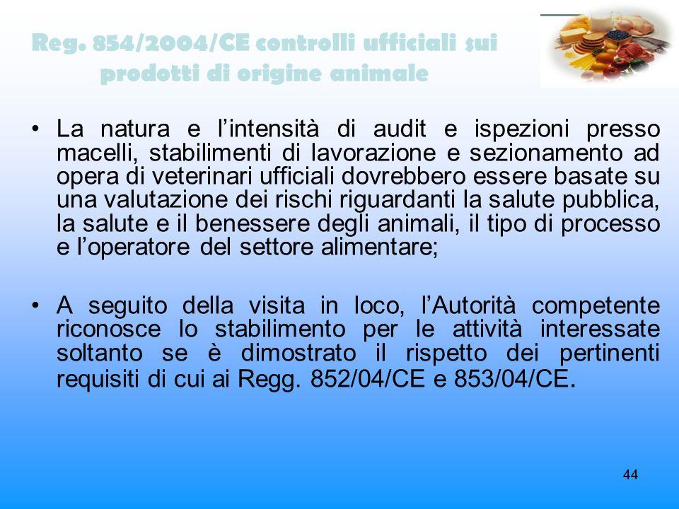 44 Reg. 854/2004/CE controlli ufficiali sui prodotti di origine animale La natura e lintensità di audit e ispezioni presso macelli, stabilimenti di la