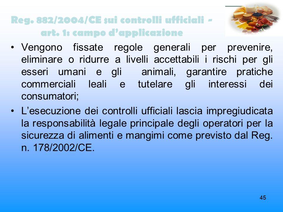 45 Reg. 882/2004/CE sui controlli ufficiali - art. 1: campo dapplicazione Vengono fissate regole generali per prevenire, eliminare o ridurre a livelli