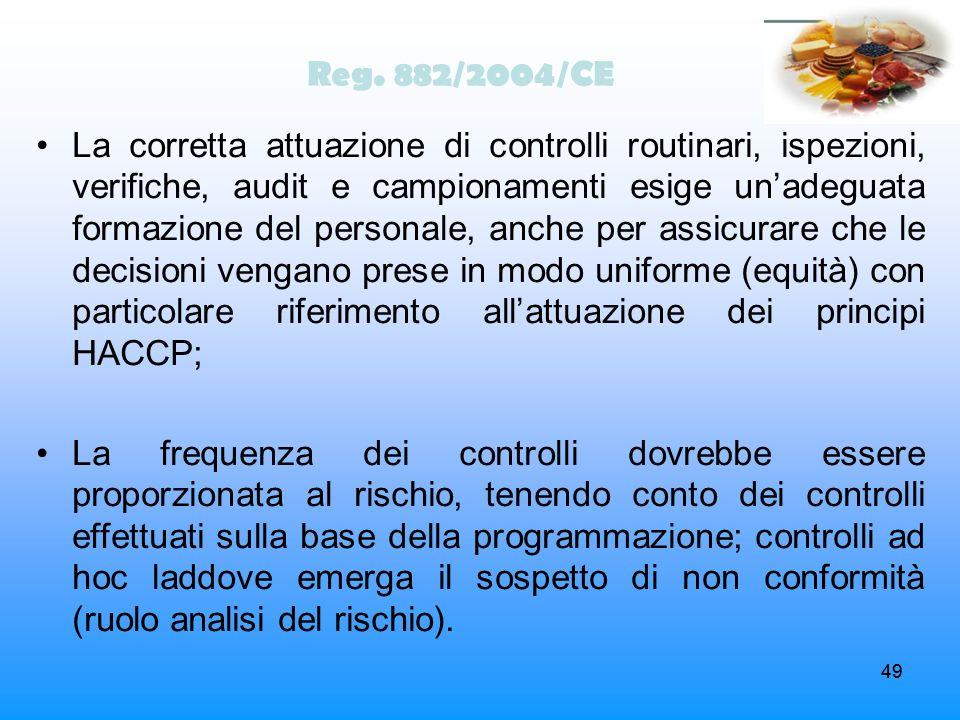 49 Reg. 882/2004/CE La corretta attuazione di controlli routinari, ispezioni, verifiche, audit e campionamenti esige unadeguata formazione del persona