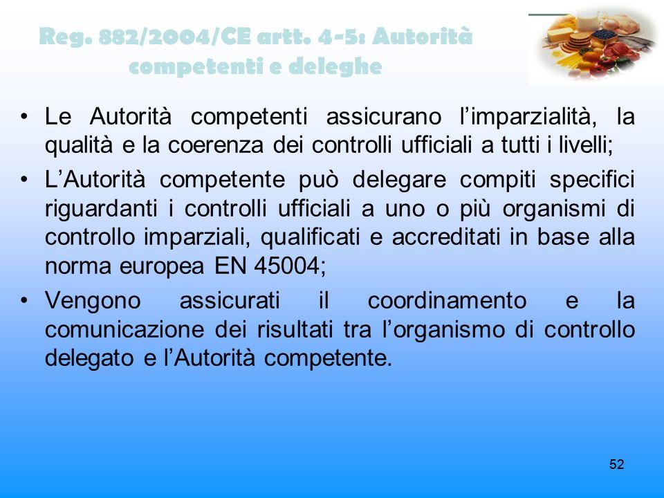 52 Reg. 882/2004/CE artt. 4-5: Autorità competenti e deleghe Le Autorità competenti assicurano limparzialità, la qualità e la coerenza dei controlli u