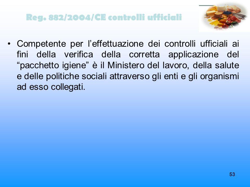 53 Reg. 882/2004/CE controlli ufficiali Competente per leffettuazione dei controlli ufficiali ai fini della verifica della corretta applicazione del p