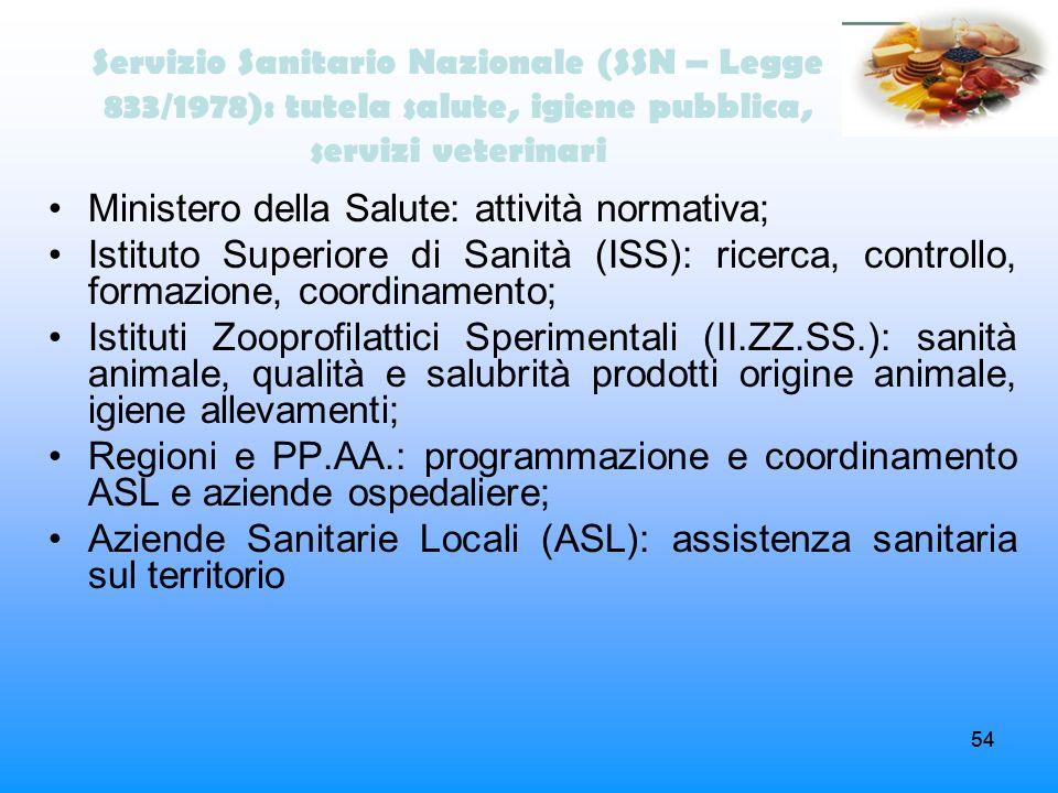 54 Servizio Sanitario Nazionale (SSN – Legge 833/1978): tutela salute, igiene pubblica, servizi veterinari Ministero della Salute: attività normativa;