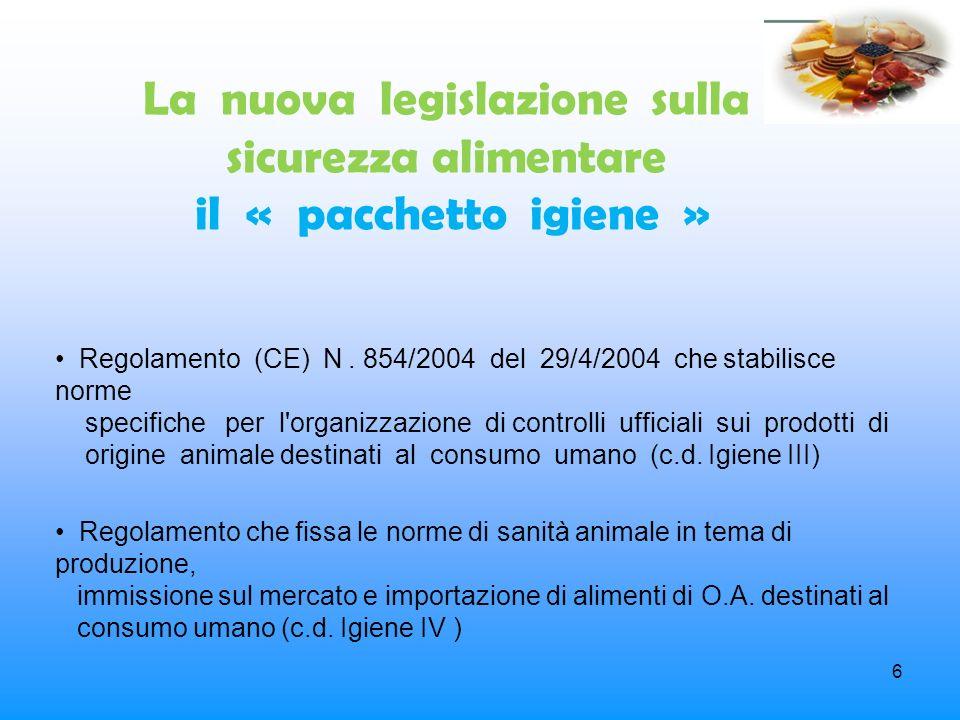 6 La nuova legislazione sulla sicurezza alimentare il « pacchetto igiene » Regolamento (CE) N. 854/2004 del 29/4/2004 che stabilisce norme specifiche